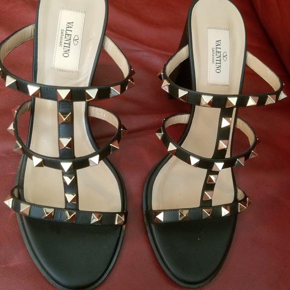 Valentino Rockstud Chunky Heel Sandal